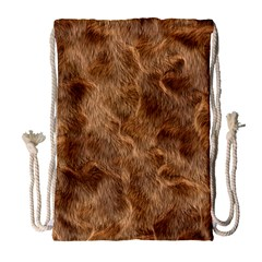 Brown Seamless Animal Fur Pattern Drawstring Bag (large) by Simbadda