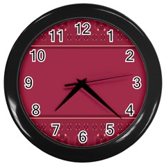 Heart Pattern Background In Dark Pink Wall Clocks (black) by Simbadda
