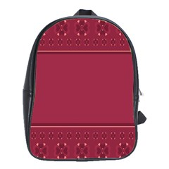 Heart Pattern Background In Dark Pink School Bags(large)  by Simbadda