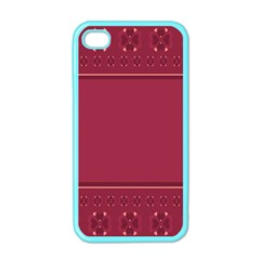 Heart Pattern Background In Dark Pink Apple Iphone 4 Case (color) by Simbadda