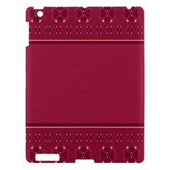 Heart Pattern Background In Dark Pink Apple Ipad 3/4 Hardshell Case by Simbadda