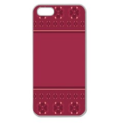 Heart Pattern Background In Dark Pink Apple Seamless Iphone 5 Case (clear) by Simbadda