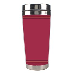 Heart Pattern Background In Dark Pink Stainless Steel Travel Tumblers by Simbadda