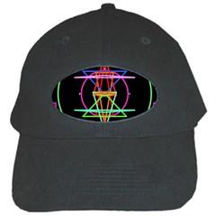 Drawing Of A Color Mandala On Black Black Cap by Simbadda