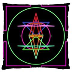 Drawing Of A Color Mandala On Black Large Cushion Case (one Side) by Simbadda