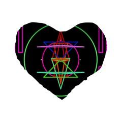 Drawing Of A Color Mandala On Black Standard 16  Premium Flano Heart Shape Cushions by Simbadda