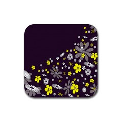 Vintage Retro Floral Flowers Wallpaper Pattern Background Rubber Square Coaster (4 Pack)  by Simbadda