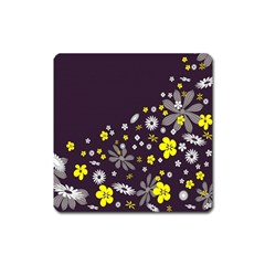 Vintage Retro Floral Flowers Wallpaper Pattern Background Square Magnet by Simbadda