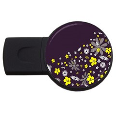 Vintage Retro Floral Flowers Wallpaper Pattern Background Usb Flash Drive Round (2 Gb) by Simbadda