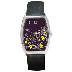 Vintage Retro Floral Flowers Wallpaper Pattern Background Barrel Style Metal Watch by Simbadda