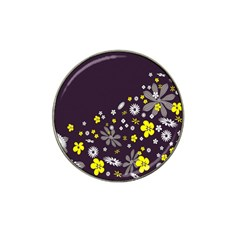 Vintage Retro Floral Flowers Wallpaper Pattern Background Hat Clip Ball Marker by Simbadda