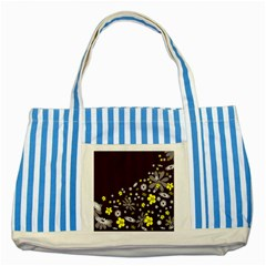 Vintage Retro Floral Flowers Wallpaper Pattern Background Striped Blue Tote Bag by Simbadda