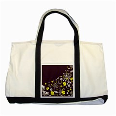 Vintage Retro Floral Flowers Wallpaper Pattern Background Two Tone Tote Bag by Simbadda