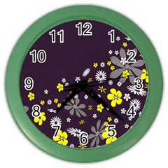 Vintage Retro Floral Flowers Wallpaper Pattern Background Color Wall Clocks by Simbadda