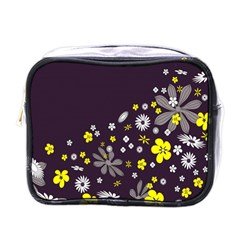 Vintage Retro Floral Flowers Wallpaper Pattern Background Mini Toiletries Bags by Simbadda