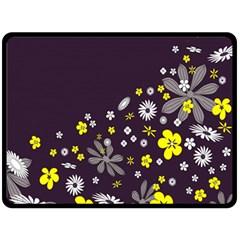 Vintage Retro Floral Flowers Wallpaper Pattern Background Fleece Blanket (large)  by Simbadda