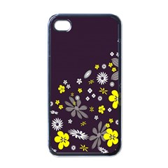 Vintage Retro Floral Flowers Wallpaper Pattern Background Apple Iphone 4 Case (black) by Simbadda