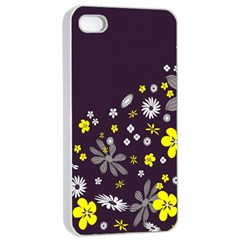 Vintage Retro Floral Flowers Wallpaper Pattern Background Apple Iphone 4/4s Seamless Case (white) by Simbadda