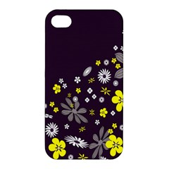 Vintage Retro Floral Flowers Wallpaper Pattern Background Apple Iphone 4/4s Hardshell Case by Simbadda