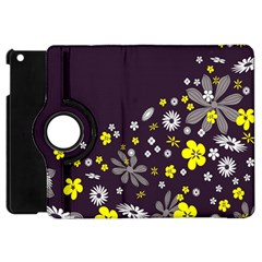 Vintage Retro Floral Flowers Wallpaper Pattern Background Apple Ipad Mini Flip 360 Case by Simbadda