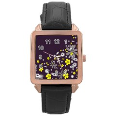 Vintage Retro Floral Flowers Wallpaper Pattern Background Rose Gold Leather Watch  by Simbadda