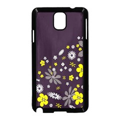 Vintage Retro Floral Flowers Wallpaper Pattern Background Samsung Galaxy Note 3 Neo Hardshell Case (black) by Simbadda