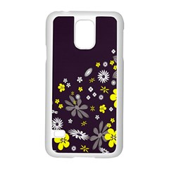 Vintage Retro Floral Flowers Wallpaper Pattern Background Samsung Galaxy S5 Case (white) by Simbadda