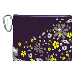 Vintage Retro Floral Flowers Wallpaper Pattern Background Canvas Cosmetic Bag (xxl) by Simbadda