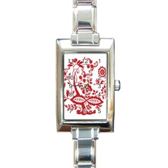 Red Vintage Floral Flowers Decorative Pattern Clipart Rectangle Italian Charm Watch by Simbadda