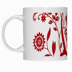 Red Vintage Floral Flowers Decorative Pattern Clipart White Mugs by Simbadda