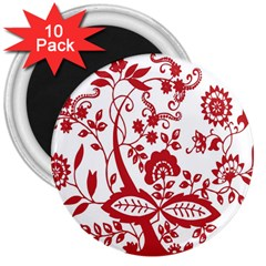 Red Vintage Floral Flowers Decorative Pattern Clipart 3  Magnets (10 Pack)  by Simbadda