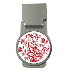 Red Vintage Floral Flowers Decorative Pattern Clipart Money Clips (round)  by Simbadda
