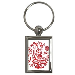 Red Vintage Floral Flowers Decorative Pattern Clipart Key Chains (rectangle)  by Simbadda