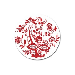 Red Vintage Floral Flowers Decorative Pattern Clipart Magnet 3  (round) by Simbadda