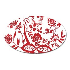 Red Vintage Floral Flowers Decorative Pattern Clipart Oval Magnet by Simbadda