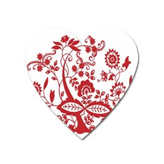 Red Vintage Floral Flowers Decorative Pattern Clipart Heart Magnet by Simbadda