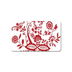 Red Vintage Floral Flowers Decorative Pattern Clipart Magnet (name Card) by Simbadda