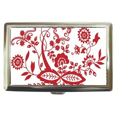 Red Vintage Floral Flowers Decorative Pattern Clipart Cigarette Money Cases by Simbadda