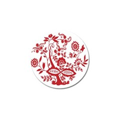 Red Vintage Floral Flowers Decorative Pattern Clipart Golf Ball Marker (4 Pack)