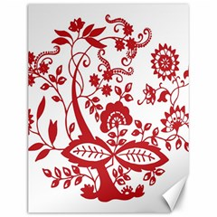 Red Vintage Floral Flowers Decorative Pattern Clipart Canvas 12  X 16   by Simbadda