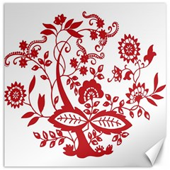 Red Vintage Floral Flowers Decorative Pattern Clipart Canvas 16  X 16   by Simbadda