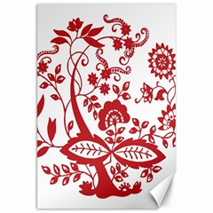 Red Vintage Floral Flowers Decorative Pattern Clipart Canvas 20  X 30   by Simbadda