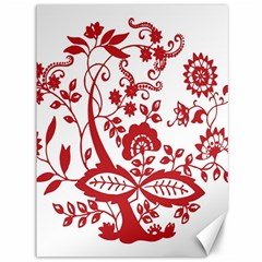 Red Vintage Floral Flowers Decorative Pattern Clipart Canvas 36  X 48   by Simbadda