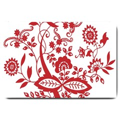 Red Vintage Floral Flowers Decorative Pattern Clipart Large Doormat  by Simbadda