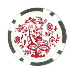 Red Vintage Floral Flowers Decorative Pattern Clipart Poker Chip Card Guard by Simbadda