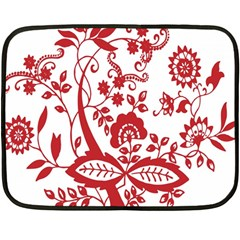 Red Vintage Floral Flowers Decorative Pattern Clipart Fleece Blanket (mini) by Simbadda
