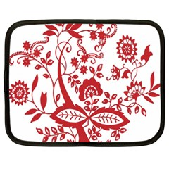 Red Vintage Floral Flowers Decorative Pattern Clipart Netbook Case (xxl)  by Simbadda