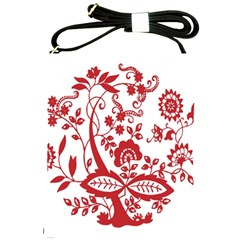 Red Vintage Floral Flowers Decorative Pattern Clipart Shoulder Sling Bags by Simbadda