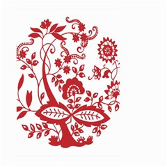 Red Vintage Floral Flowers Decorative Pattern Clipart Large Garden Flag (two Sides) by Simbadda