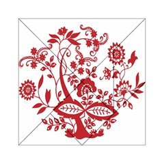 Red Vintage Floral Flowers Decorative Pattern Clipart Acrylic Tangram Puzzle (6  X 6 ) by Simbadda